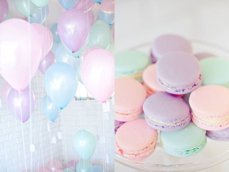 D co de f te ballons pastel et ses macarons d co de f te pastel et paillettes - Decoration fete de fiancaille ...