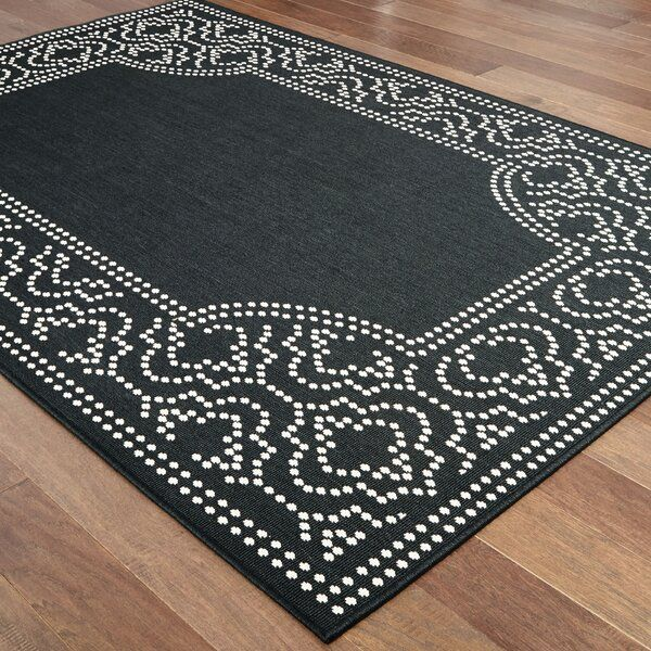 This Salerno Intricate Border Black Ivory Indoor Outdoor Area Rug Is An Elegant New Introduction For Indoor Or Outdoor In 2020 Area Rugs Rugs Indoor Outdoor Area Rugs