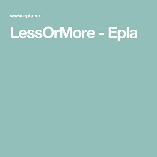 LessOrMore - Epla
