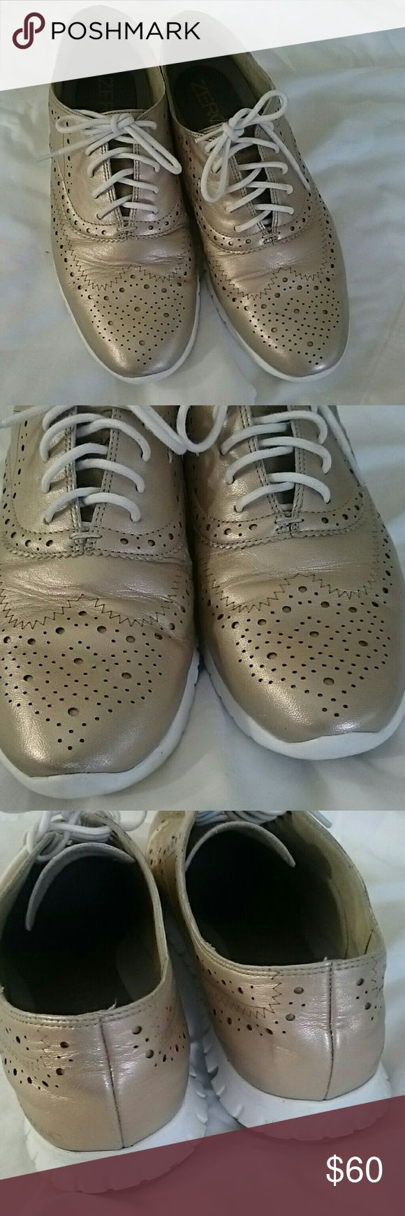 Cole Haan Zero Grand Gold Gently used, perfect shape. Minor scratches but not too visible. Cole Haan Shoes