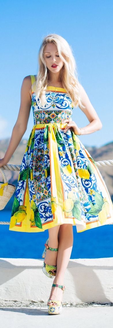Dolce & Gabbana - French blue and yellow tile-patterned sundress with matching platform sandals