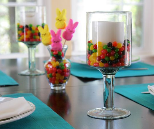 Easy Easter Centerpiece : Easy easter table setting candle decorations jelly