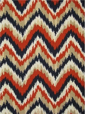 """Ahmar Pelee Nate Berkus Fabric, flamestitch chevron print fabric, 15,000 double rubs. 100% cotton. Perfect for drapery fabric, pillow covers or top of the bed. Repeat; V 4.5"""" x H 6.75"""". 54"""" wide. Soil and stain repellent finish."""