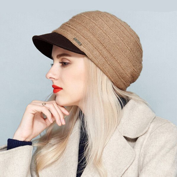 Handmade knit beret hat for women elegant winter newsboy caps