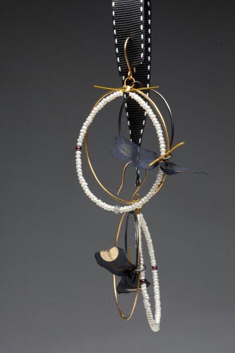 Earring, silver,pearl,