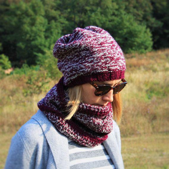 Women Knit Crochet 2 Set / Grey Pink Bordeaux by RUKAMIshop