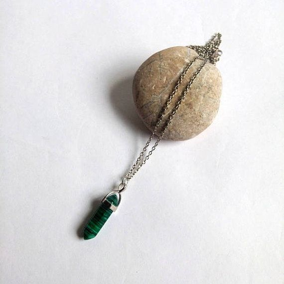 Malachite Pendant Necklace Natural Stone Necklace Moonstone