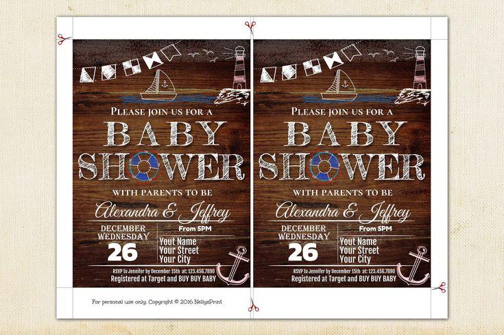 Baby Shower Invitations, Nautical Anchor Shower, Nautical Baby Shower Invitation Gender Neutral, Baby Shower Invitation, Instant Download