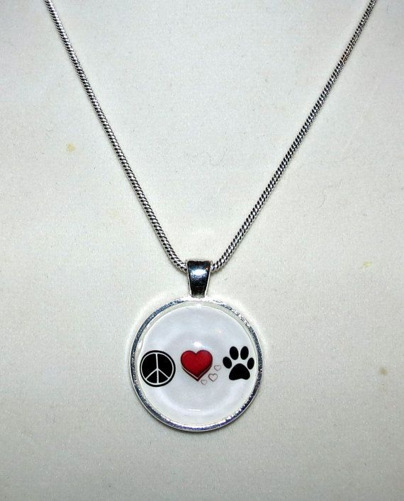 Peace Love Paw Necklace by PawInspiredCreations on Etsy