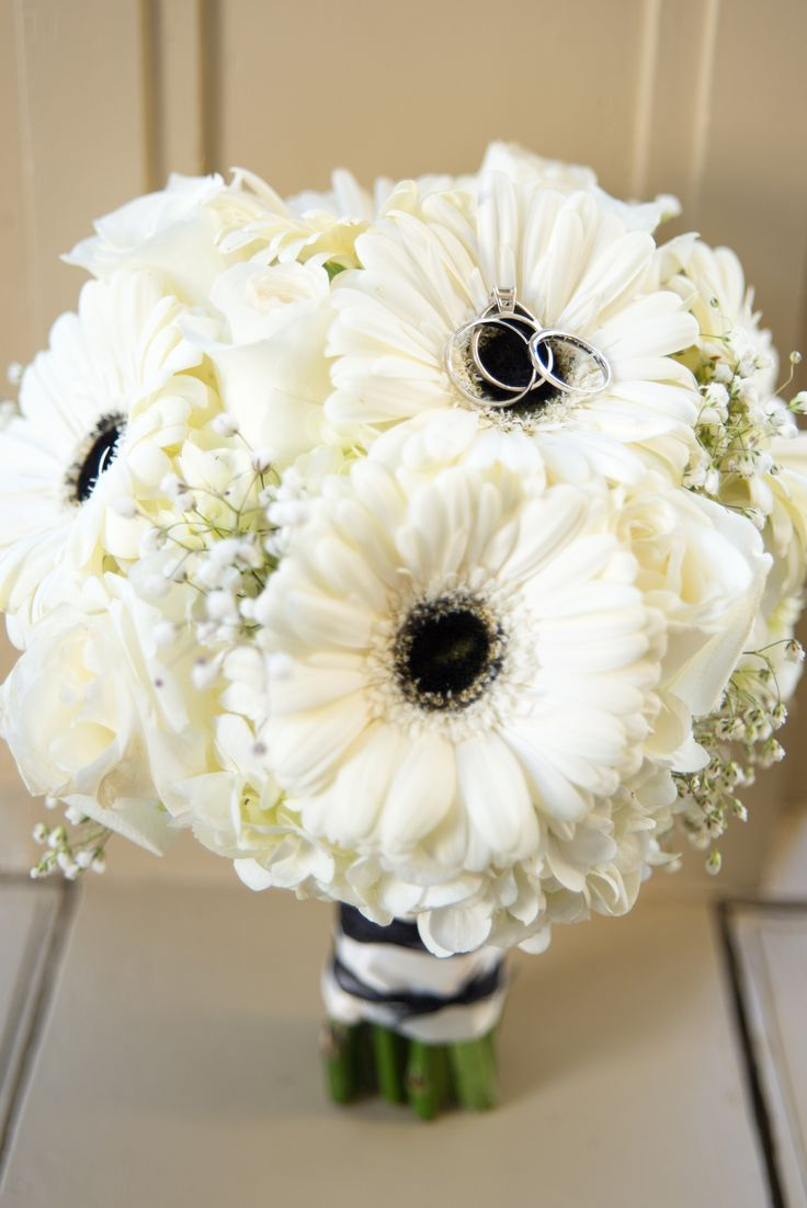 Black and white Gerbera daisy bouquet by Flowers Make Scents Midlothian, Va