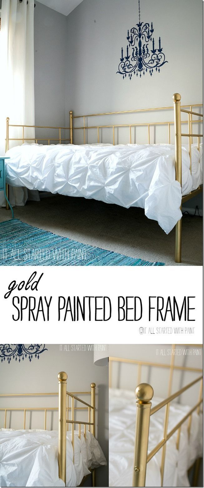 Gold Bed Frame Created With Spray Paint In 2020 Gold Bed Frame