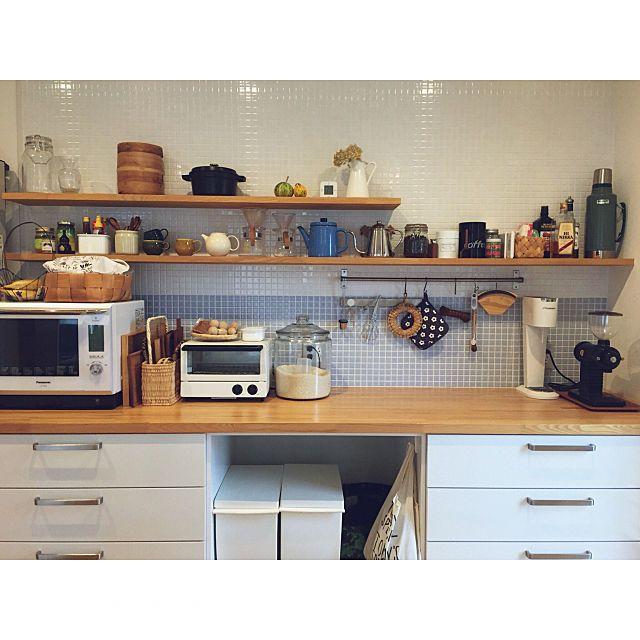 キッチン 北欧 タイル キッチン収納 シンプル などのインテリア実例 2016 05 22 17 40 45 Roomclip ルームクリップ キッチンデザイン リビング キッチン キッチンインテリアデザイン
