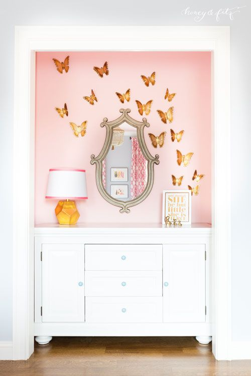 pink butterfly wall