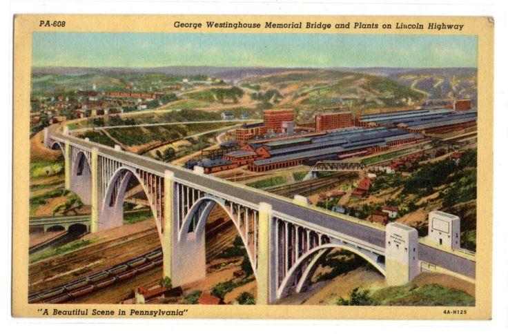 George Westinghouse Memorial Bridge near Pittsburgh PA vintage linen postcard