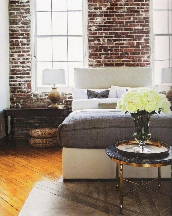 25 Fabulous Bedrooms From Pinterest - exposed brick, neutrals, and a pop of colorful flowers