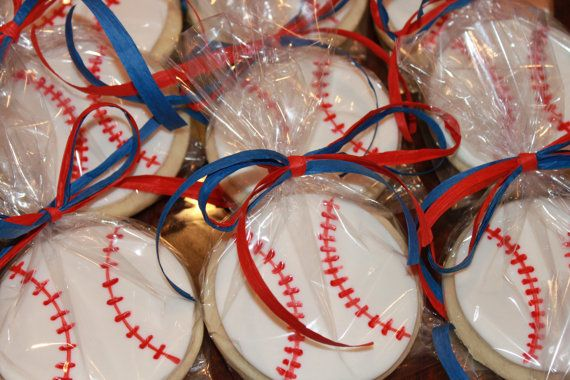 Baseball Cookie Favors Baseball Theme Party by LeslieRuthSweets