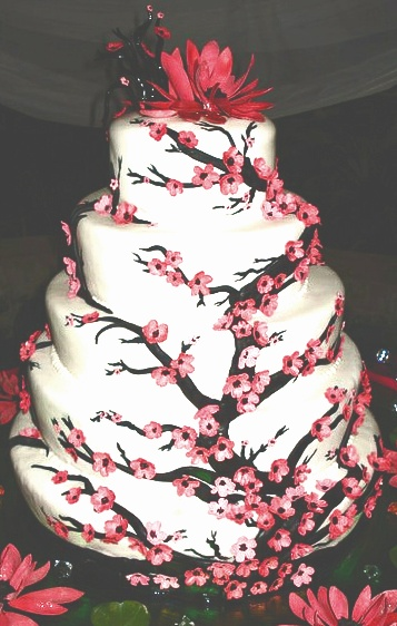 Cherry Blossom Wedding cake. I like this cake but want it with darker deeper colored flowers!