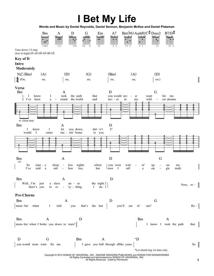 Imagine Dragons: I Bet My Life - Partition Tablature Guitare - Plus de 70.000 partitions à imprimer !