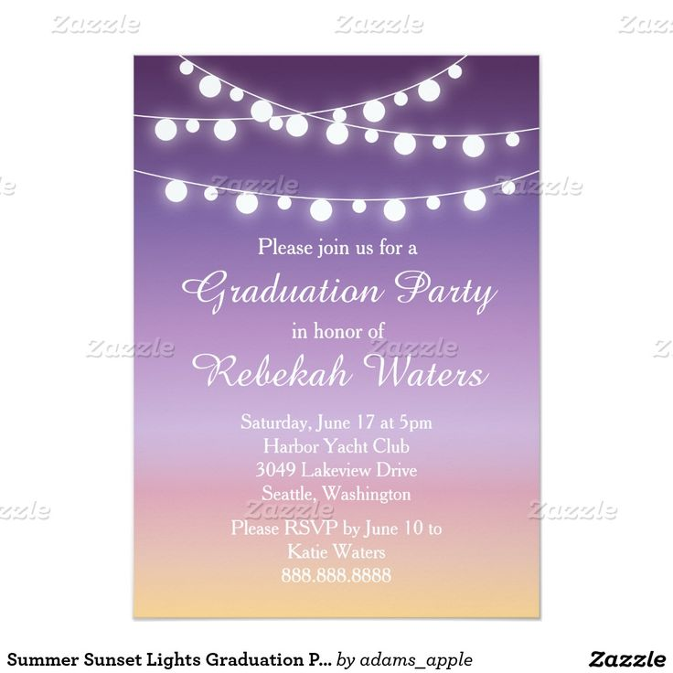 sample open house graduation party invitations%0A Summer Sunset Lights Graduation Party    x     Paper Invitation Card