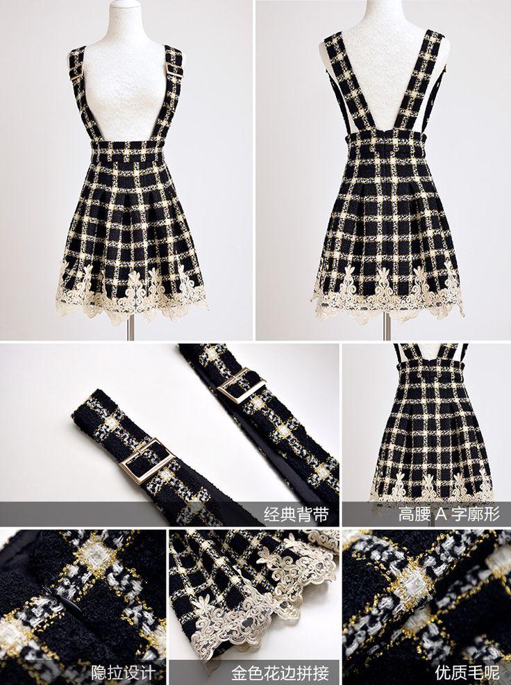 Dabuwawa опрятный стиль старинных высокой талией кружева черный плед шерстяной подтяжк юбка купить на AliExpress