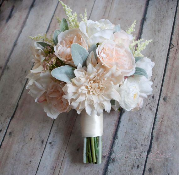 A gorgeous silk bouquet for a spring wedding - Blush Pink and Ivory Garden Rose Dahlia and Peony Wedding Bouquet by Kate Said Yes Weddings