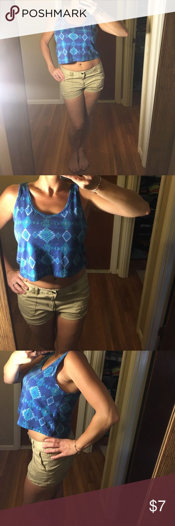 Forever21 blue Aztec crop top Super cute forever 21 blue Aztec crop top tank. NWT! Forever 21 Tops Crop Tops