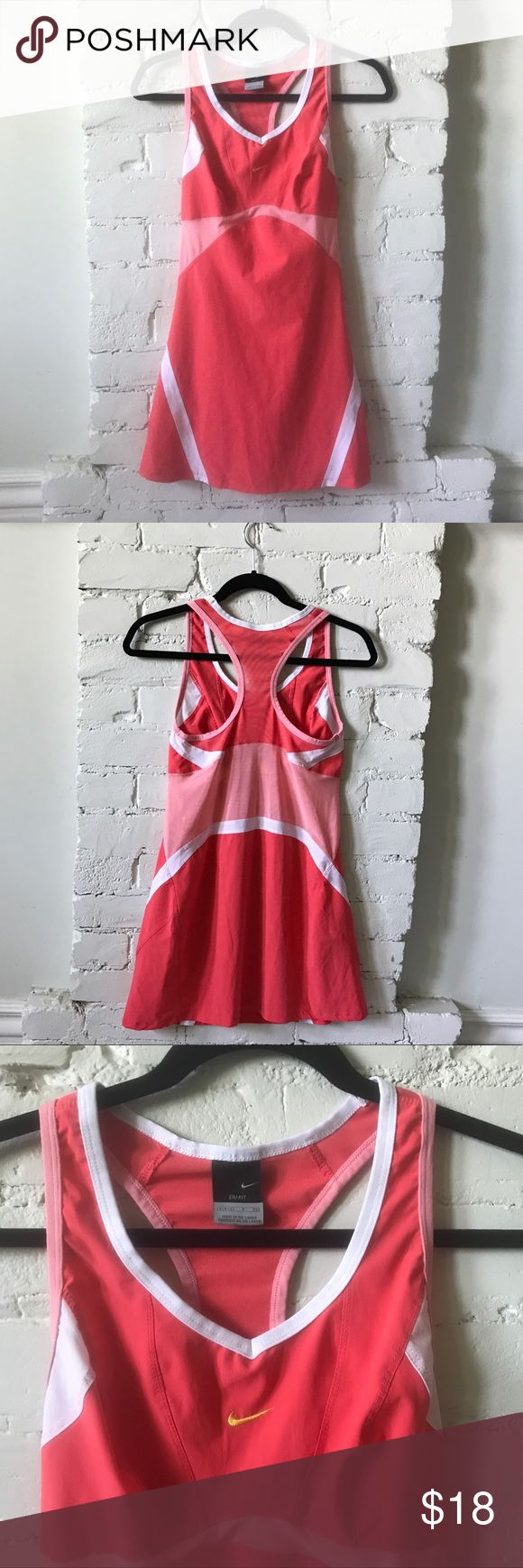 Nike Tennis Dress S Coral/Pink/White Nike tennis dress great for summer!  Good used condition; fit is pretty true to size. Cute mesh detail. Check out my other tennis wear and bundle to save! 🎾 Nike Dresses