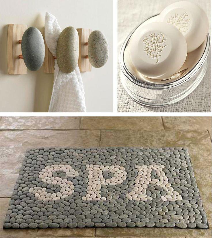 Give the bathroom a spa like feel with a ocean pebble mat for Spa bath ideas