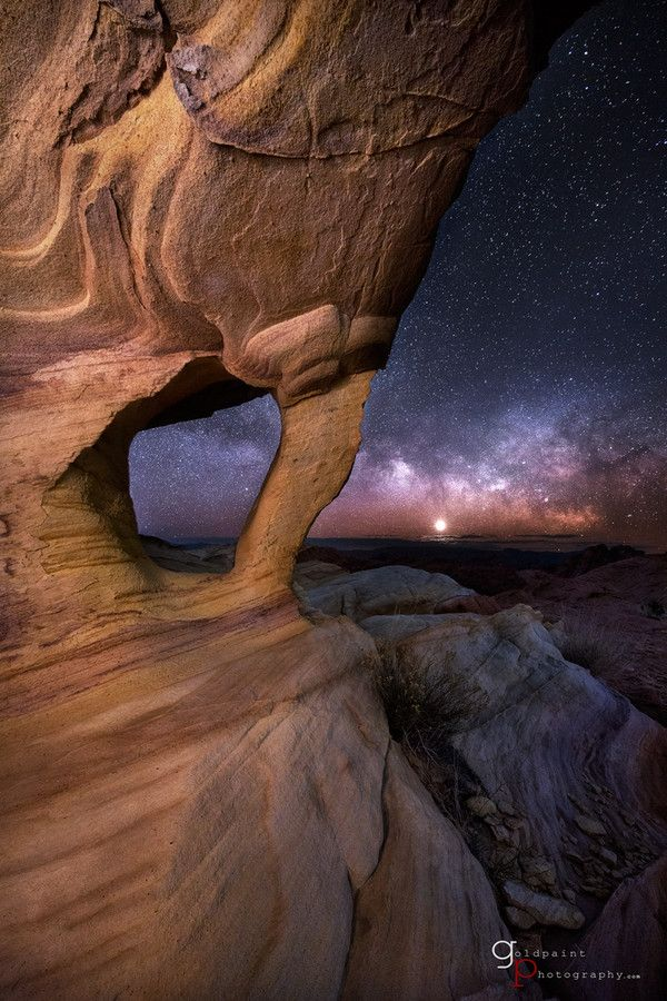 In the Dream ~ Astrophotography nightscape, Valley of Fire, Nevada by Brad Goldpaint
