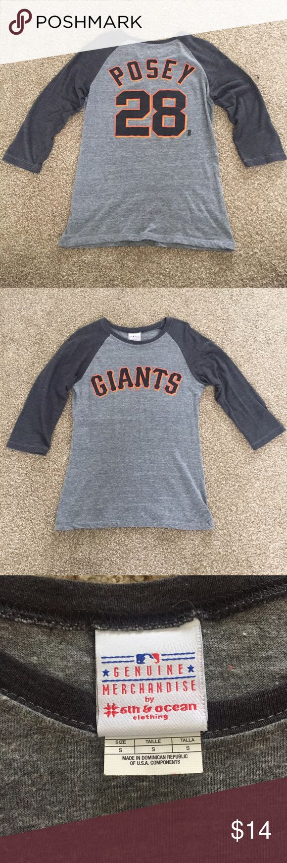 Buster Posey SF Giants MLB Grey Baseball Tee Bought from the Giants Dugout Store at AT&T Park. No longer fits me. Wore TWICE. MLB Tops Tees - Long Sleeve