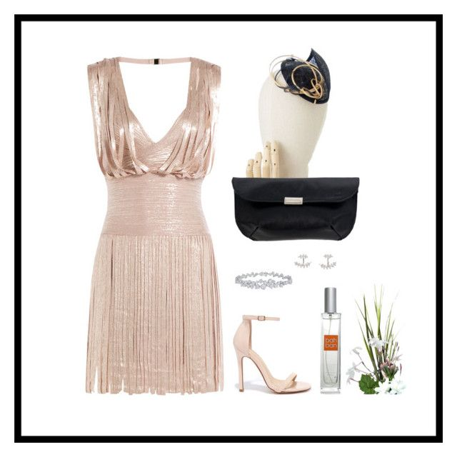 """""""Perfect wedding guest"""" by anastasio-calvo ❤ liked on Polyvore featuring Hervé Léger, Liliana, SonyaRenée, Harry Winston, Clutch, weddings, guest, bahban and bahbanclutch"""