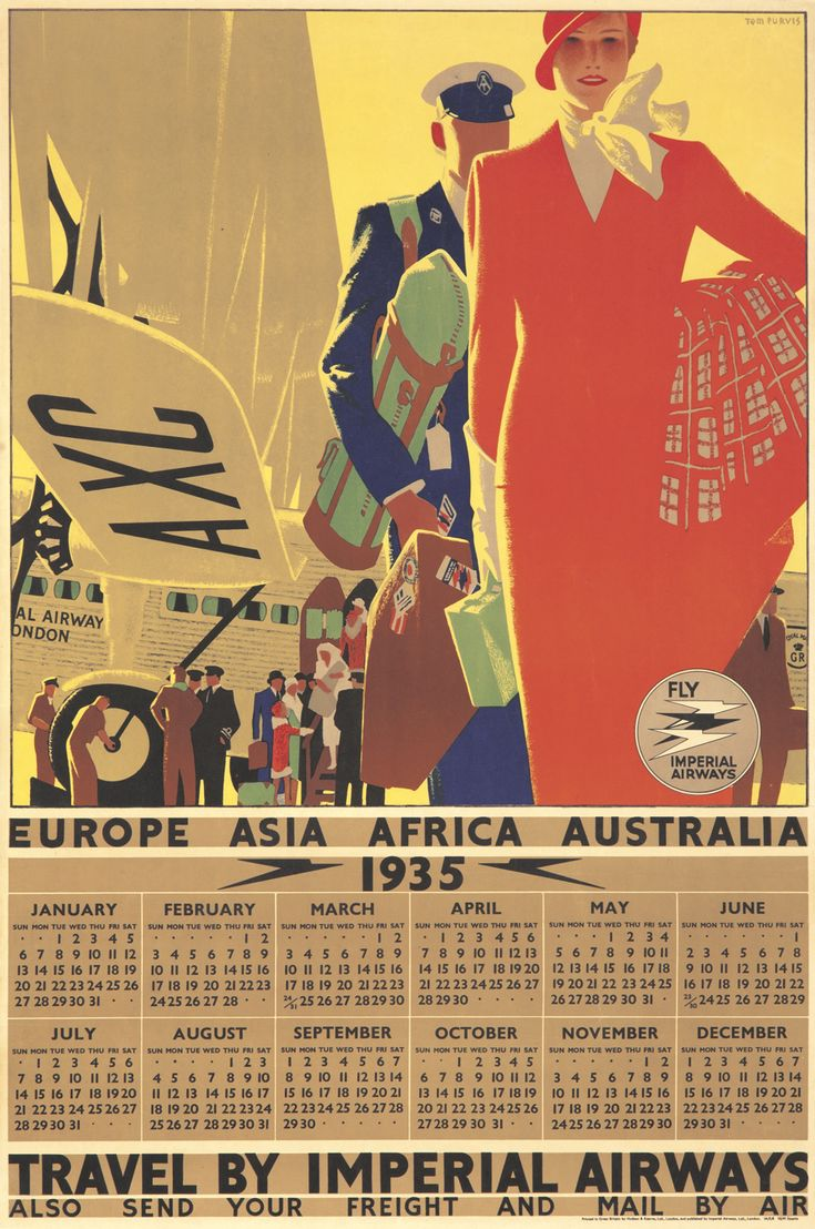 1935 Promotional Calendar by Imperial Airways. Illustration by Tom Purvis.