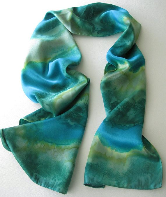 RESERVED For SilverElement, Silk Scarf, Hand Painted Green, Teal and Turquoise