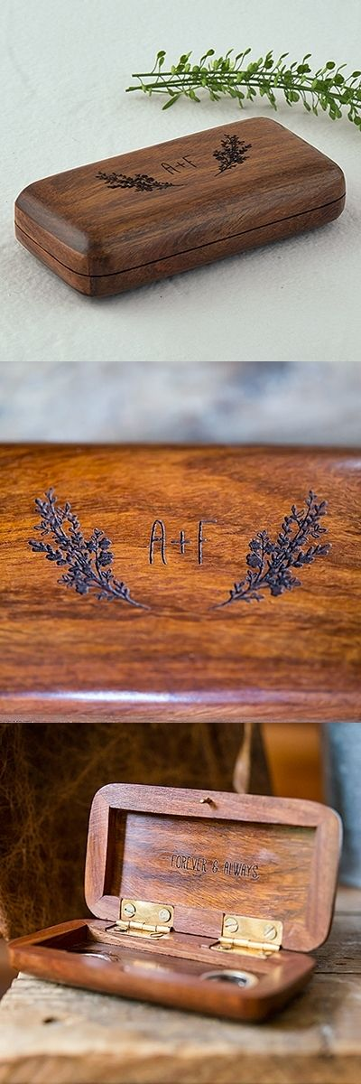 Personalized Pocket-Sized Wooden Ring Box w/ Garland Motif Surrounding