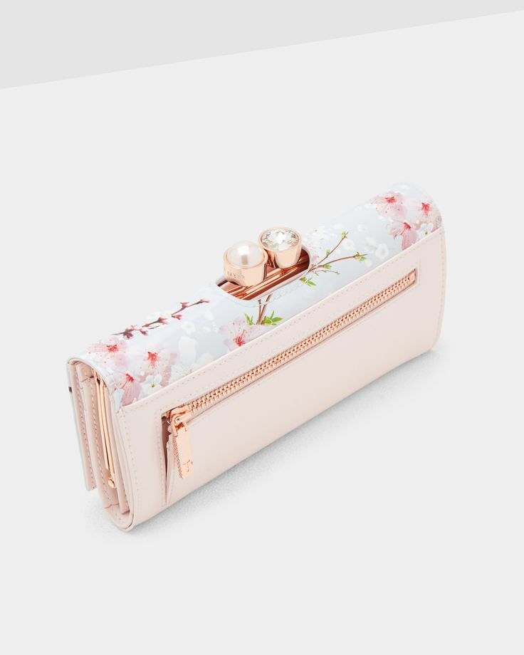 Oriental Blossom leather matinee wallet - Light Gray | Accessories | Ted Baker