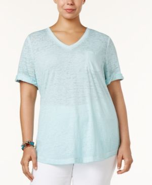 Style & Co Plus Size Burnout T-Shirt, Only at Macy's - Blue 1X