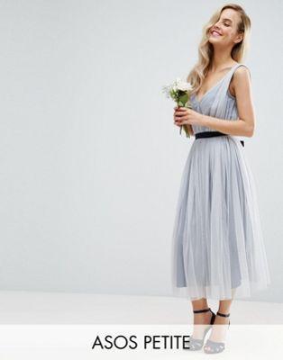 ASOS PETITE WEDDING Mesh Midi Dress With Ribbon Strapping Detail