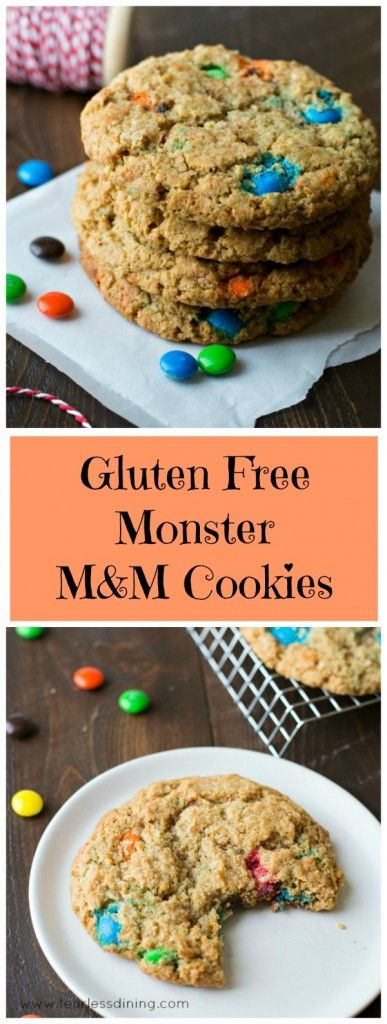 Gluten Free Monster M&M Cookies and easy to follow instructional video to make these! Found at http://www.fearlessdining.com