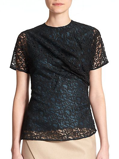 CARVEN Draped Lace Top. #carven #cloth #top