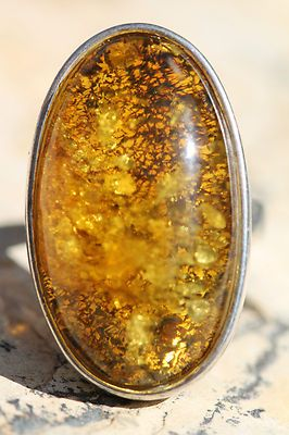Large Vintage Modernist Sterling Silver Baltic Honey Amber Ring   eBay
