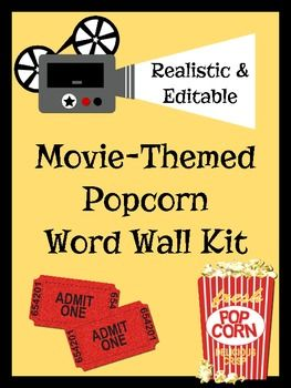 Editable word wall kit in a more realistic popcorn theme
