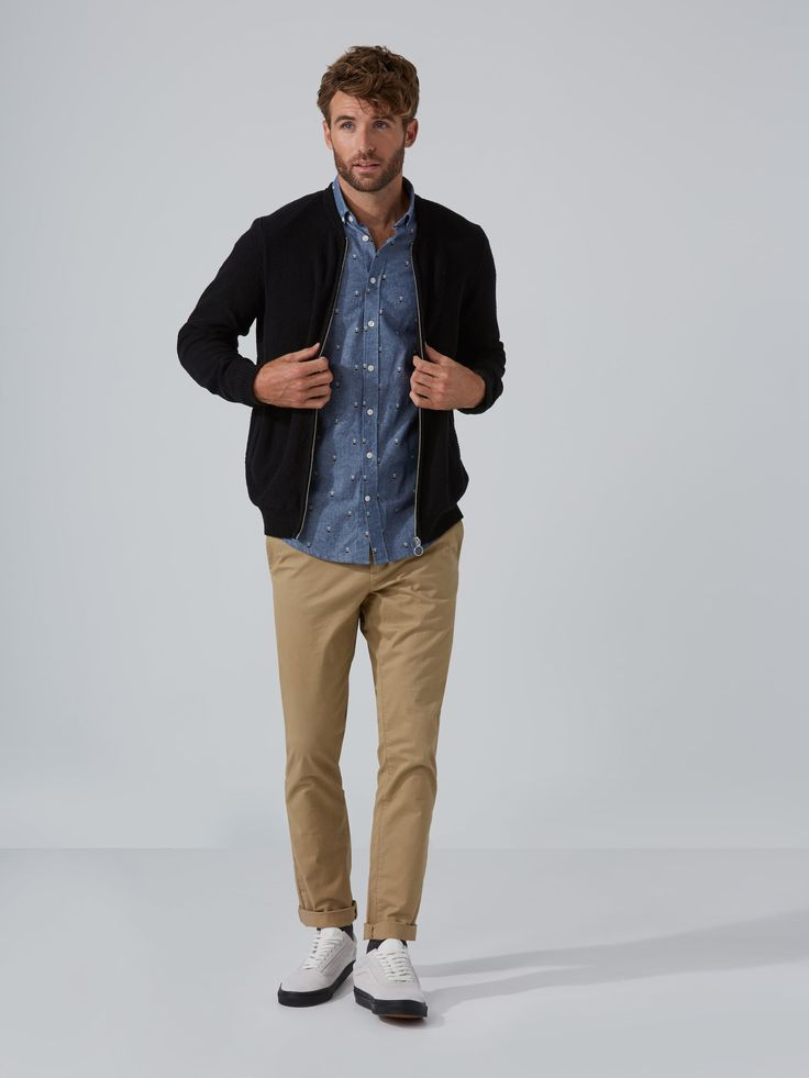 Trophy Print Chambray Shirt in Blue   Frank And Oak