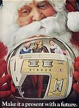 Life Magazine 10/70 SANTA & Singer Sewing Machine CRYSTAL BALL Ad~Golden Touch & Sew