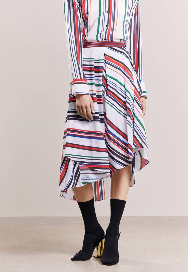 """Iceberg. Pleated skirt - multicolor. Our model's height:Our model is 69.5 """" tall and is wearing size 10. Outer fabric material:100% silk. Care instructions:Dry clean only. Pattern:striped. Details:elasticated waist. Length:calf-length..."""