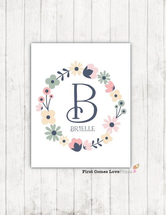Floral Wreath Monogram Print Shabby Chic by FirstComesLovePrints