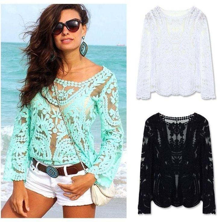 2015 Women Blouses Spring Summer Fashion Crochet Lace Tops Hollow Out Lady Lace Shirt Lace Blouse Blusas