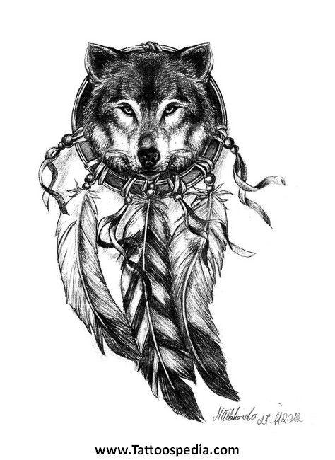 feminine wolf tattoos   Wolf%20With%20Dreamcatcher ...