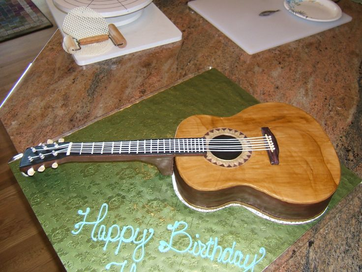 9 best images about found guitar cakes on pinterest for Acoustic guitar decoration ideas