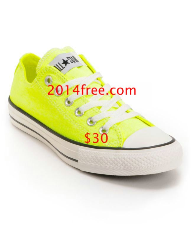 Converse Shoes Washed Neon Yellow Chuck Taylor All Star Classic Low Tops #Yellow #Womens #Sneakers
