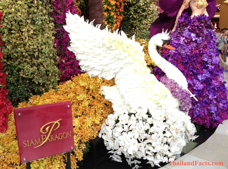 ThailandFacts.com white swan made with orchids flowers